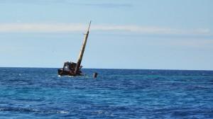 Das Wrack des italienischen Frachters MICHELLE