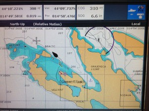 Nur raus da: Plot unseres Aufbruchs aus der Pantera Bucht an der Nordspitze von Dugi Otok.