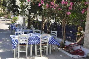 Fischrestaurant an der Hafenmole von Gaios