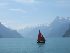 Segeln bei Luzern in der Schweiz