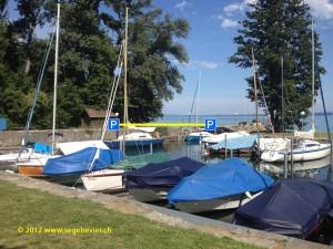 Die Gästeplätze im Hafen von Vaumarcus am Neuenburgersee