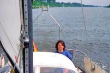 Petra im Cockpit