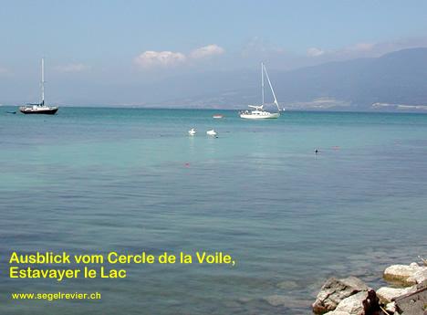 Ausblick von der Mole in Estavayer le Lac