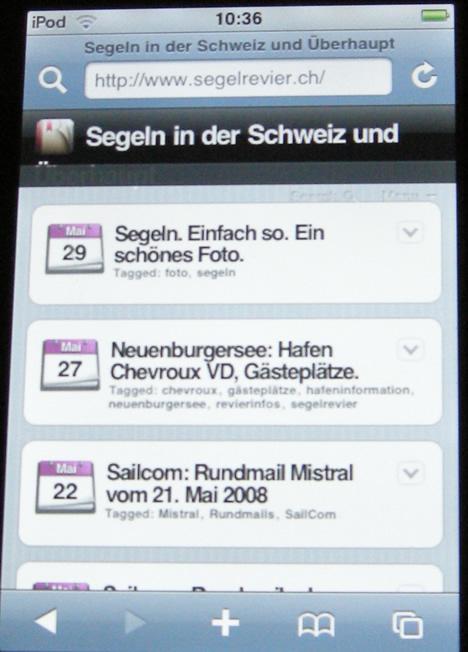 Segelrevier.ch auf einem iPod Touch.