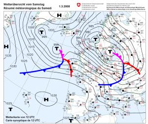 Eine Wetterkarte mit schönen Tiefdrucksystemen