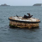 Festmacher-Tonne. Im Hintergrund Seezeichen des Kardinalsystems vor St. Malo.